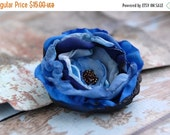 SALE 50% Handmade Fabric Flower Pin, Blue Flower Brooch, Flower Accessory, Dress flower, Tagt Team