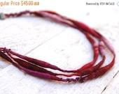 SALE SALE SALE Felted Necklace --- Ooak Merino wool Soft Jewlery --- Tagt Team --- Red Pink Burgundy