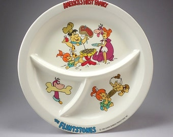 The Flintstones LARGE Melmac Children's Plate, America's First Family, Hanna - Barbera, Fred, Wilma, Pebbles, Dino, Bambam