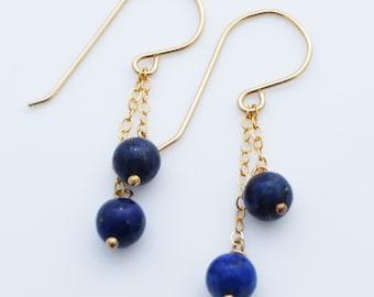 Lapis Lazuli Ball Drop Earrings EE Designs