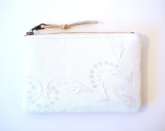 Bridesmaids Gifts Coin Purse Medium Zipper Pouch White Vintage Lace and Grey