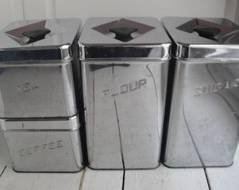 Vintage 1950s Canister Set of 4 Canette Tin Black