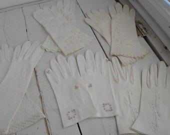 Vintage Ladies White Cotton Gloves Beaded Eyelet Cut out