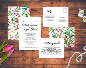 Modern Tropical Flamingo Wedding Invitations