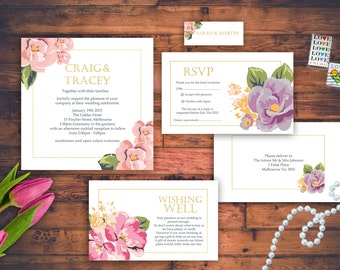 Square Modern Floral Wedding Invitation Set