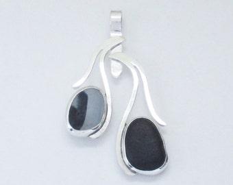 Sea Glass Jewelry - Sterling Rare Black & Victorian English Sea Glass Pendant