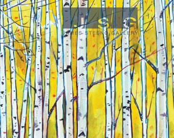 Birches No. 3 Watercolor Art Print by James Steeno