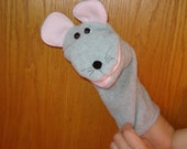 Grey Mouse hand puppet pink mouth hand puppet Puppets by Margie story telling classroom