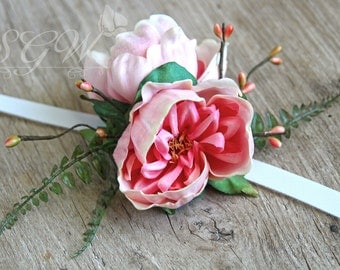 Pink Real Touch Peony Prom Homecoming Boutonniere and Corsage Set