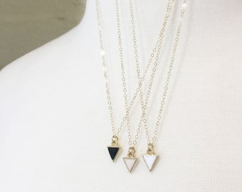 Dainty Enamel Necklace | Triangle Charm | Pink White Black