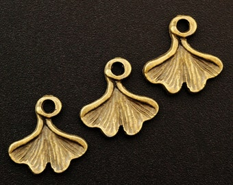 10 Antique Gold Ginkgo Leaf Charms - 12.5mm X 12.5mm - Matching Jump Rings Included - 100% Guarantee