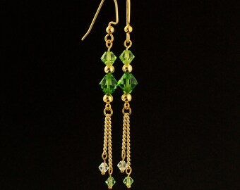 Sale - Dreaming in Green Dangle Earring Kit with Swarovski Crystals - Quick and Easy