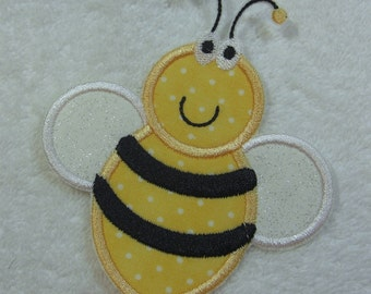 Bumble Bee Fabric Embroidered Iron On Applique Patch Ready to Ship