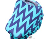 SHIPS TODAY- Car Seat Cozy™ - Kelly Green and Navy Chevron Car Seat Cover, Nursing Cover, Shopping Cart Cover, etc!