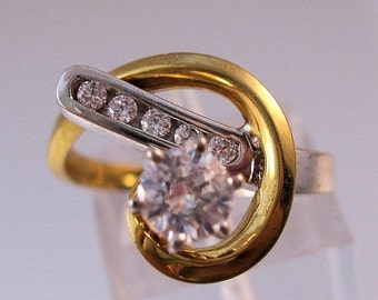 BIGGEST SALE of the Year Vintage .65ct CZ Two Tone Ring Size 7 Jewelry Jewellery