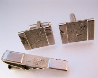 HALLOWEEN SALE 1950s MANLEIGH Silver Tone Cuff Links & Tie Clip Bar Vintage Mens Jewelry Jewellery