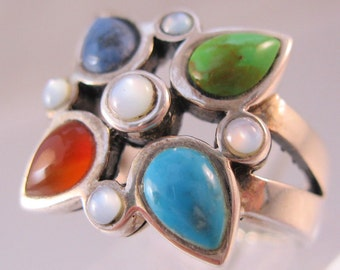 Multi Gemstone Sterling Silver Ring Size 6 Vintage Jewelry Jewellery FREE SHIPPING