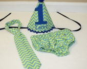 baby boys first birthday outfit, lime green blue, boys 1st birthday outfit,  cake smash set, boys tie, 1st birthday hat, boys diaper cover