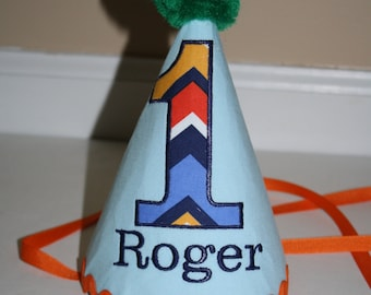 boys first birthday hat, light blue orange green yellow, boys 1st birthday hat, cake smash outfit, boys hat, personalized birthday hat