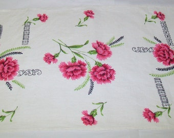 SALE - 1950s Linen Kitchen Towel, tea towel