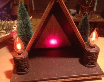tiki hut nativity manger display lamp