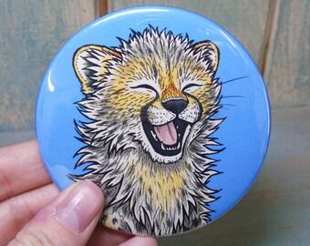 Cheetah Cub Illustration Pocket Mirror