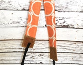 Orangesicle Camera Strap, narrow / foam padded for comfort, Darby Mack / dslr gear / photography equipment / Wax Canvas