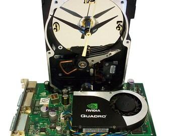 Hard Drive Clock with Rare Green Graphics Circuit Board & Fan as the Base. Geek Functional Clock Art. FREE SHIPPING USA!