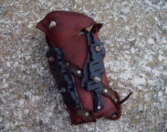 Stripped Leather Bracer -- tire scraps fallout barbarian viking post apocalypse burning man wasteland weekend