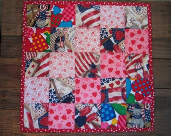 Hearts and Flags Quilted Toddler Snuggle Blankie or Doll Blanket