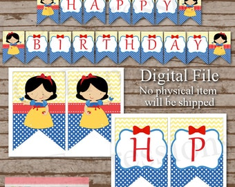 Digital Snow White Birthday Banner