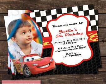 Cars Lightning mcQueen Photo Birthday Party Invitation