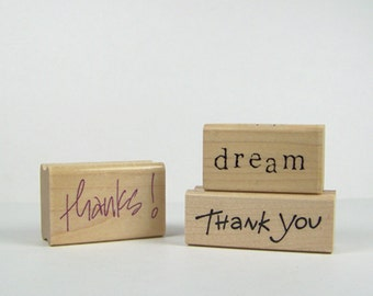"Lot of Three Typography Stamps, Wood Mounted Rubber Stamps, ""Thank You"", ""Thanks"" and ""Dream"""
