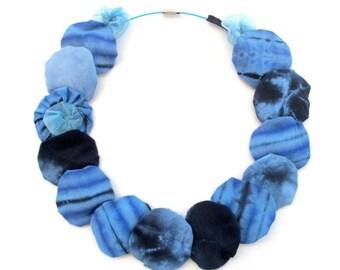 LetsPartySale Blue collar fiber necklace, Eco friendly fabric necklace, extra light fiber necklace, fiber circles necklace