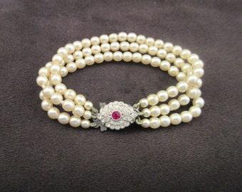Vintage Pearl and Rhinestone Bracelet, Red Rhinestone, Valentine