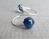Navy Blue Lampwork Earrings, Dark Blue Glass Drop Earrings, Small Wire Hoop Earrings, Blue Earrings, Sterling Silver Hoops, Small Earrings