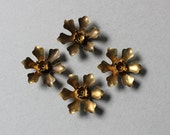 Oxidized Brass Riveted Tiny Flower Findings