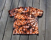 Mandala Tie Dye Tee - Orange & Black (Medium) Youth