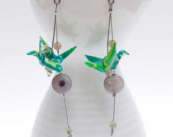 Origami earrings in handmade green paper with labradorite and mop beads