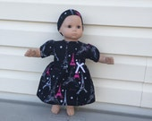 Doll Clothes for Bitty Baby Girl Dolls or Bitty Twin Girl Dolls 15 Inch Dolls, Paris After Dark Eiffel Tower Stars Dress