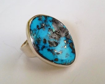 Vintage Zuni Artist Roger Tsabetsaye  Morenci Turquoise and Sterling Silver Ring