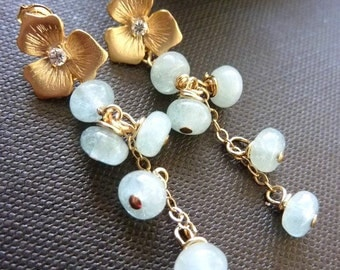 Icy Blue Aquamarine Cluster Golden Flower Cubic Zirconia Dangle Earrings