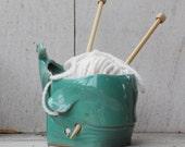 Mint yarn bowl, ceramic whale yarn bowls,Knitting bowl, Knitting Bowl, Crochet Bowl READY TO SHIP