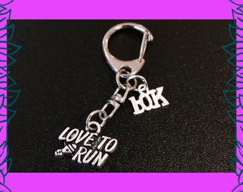 10K run, 10 K run gift, 10K run race prize, love to run keychain, fitness key ring, athletics running keyring gift UK