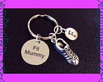 Fitness gift, fit mummy keyring, mom into fitness, mum fitness keychain, 3D running shoe keyring, Fit Mummy PT UK