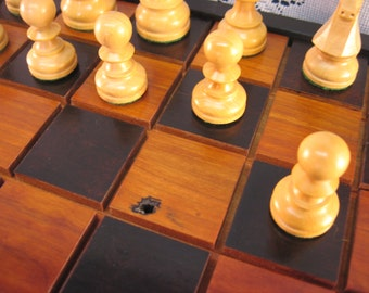 Black Cherry Chess Set From Reclaimed 1800's Barn Beams