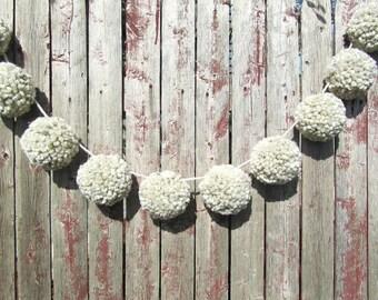 Oatmeal Pom Pom Garland/Bunting/Pom Pom Banner/Home Decor/Nursery Decor/Shower/Photo Prop