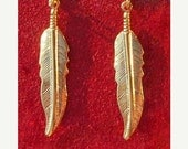 ON SALE GOLD Feather Earrings - Larger size