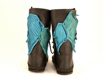Shin High Moccasin Black w/ Turquoise Leaf Applique / Hand Stitched Thick Bullhide Leather w/ Vibram Renaissance