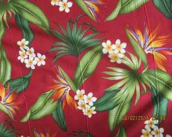 Marianne of Maui Hawaiian Quilting Fabric  Burgundy with Bird of Paradise